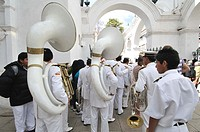 Musicians in a parade. Sucre, also known historically as Charcas, La Plata and Chuquisaca is the constitutional capital of Bolivia and the capital of ...