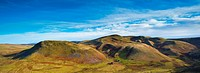 England, Northumberland, Lamb Hill. Panoramic view of Lamb Hill in the Cheviot Hills, part of the Northumberland National Park
