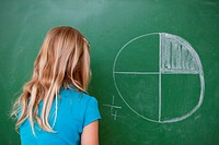 Schoolgirl learning the divisions on a blackboard