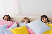 Three girls 10_11 having fun at slumber party