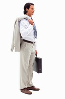 Portrait of a serious office worker holding his jacket over his shoulder and a briefcase against a white background