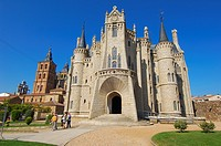 Episcopal Palace designed by Gaudi now Museo de los Caminos dedicated to the Way of Santiago, Astorga, Silver Route, Leon province, Castilla y Leon, S...