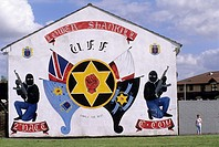 political mural painting in the west of Belfast, Northern Ireland, United Kingdom, Western Europe
