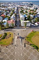 View from the bell tower of Hallgr&#237;mskirkja church, Reykjavik, Iceland