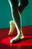 Close up of dancer in ballet shoes
