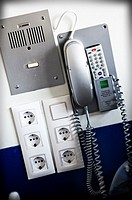 Intercom room of a hospital, for help medical personnel on duty