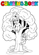 Coloring book with kids and tree _ thematic illustration.