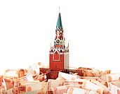 Model of the Moscow Kremlin in the background of five thousandth notes