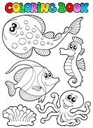 Coloring book with sea animals 3 _ thematic illustration.