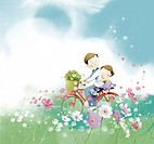 Father riding a bicycle with his daughter, illustration