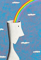 shape of human with rainbow, illustration