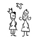 King and queen with flying dove doodles drawing.