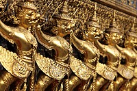 Gold statues at Grand Palace, Bangkok Thailand