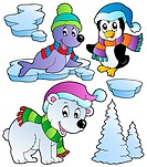 Wintertime animals collection 2 _ isolated illustration.
