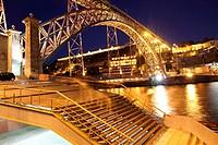 Dom Luis I bridge at dusk Porto Portugal