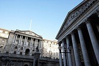 Bank of England Headquarters and royal exchange buildings in threadneedle street London England UK United kingdom