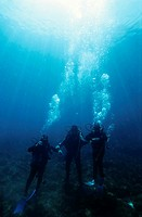 Silhouettes of three scuba divers in the blue waterswith bubbles, Marseille, France