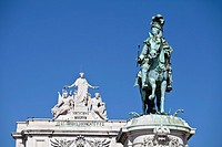 Monument to King on Praça do comercio, commerce square, near Tajus river, Baixa district, Lisbon, Portugal, Europe