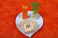 Liptauer cream cheese, served with raw vegetables / appetizer, appetiser