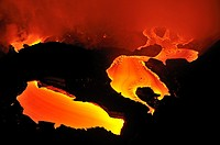River of molten lava flowing to the sea, Kilauea Volcano, Big Island, Hawaii Islands, USA