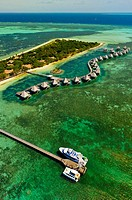 Aerial view, bungalows, L´Escapade Island Resort, Wing Island, on the New Caledonian Barrier Reef, near Noumea, New Caledonia