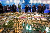 Exhibition next to the National Olympic Stadium  Shows future Olympic Area,Beijing, China