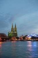 Cologne Cathedral and Musical Dome at dusk, North Rhine-Westphalia, Germany