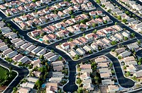 Aerial view of a dense subdivision in Las Vegas, Nevada.