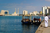 Sharjah Creek, Corniche Mosque and Radisson Blu Resort Hotel, Sharjah, United Arab Emirates, Middle East
