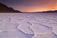 Sunset at the Salt pan polygons, Badwater Basin, 282ft below sea level and the lowest place in North America, Death Valley National Park, California, ...