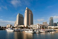 Marina and San Diego skyline, California, United States of America, North America