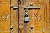 Detail of door and padlock, Bait Obaid al_Shamsi, a traditional house, Arts Area, Sharjah, United Arab Emirates, Middle East