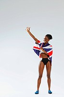Female Athlete Wearing a British Flag