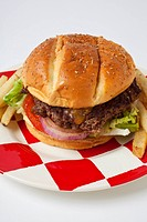 Hamburger on checker plate