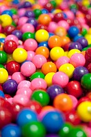 Close_up of candy gumballs