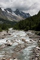 The river Dora Baltea, in the Alps