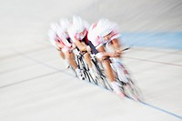 Blurred view of cyclist in race