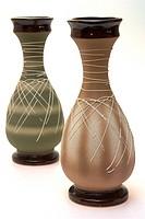 two decorate ceramic vase