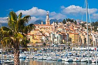 Yacht and Boats in the harbor of Menton, France, Europe