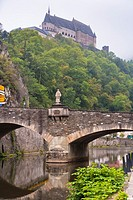 The picturesque castle of Vianden with the Our River and the town of Vianden, Luxembourg, Europe