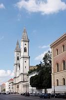 Germany, Bavaria, Munich, Ludwigstrasse, View of St. Ludwig university church