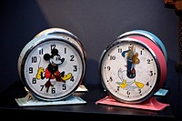 Old novelty Disney Clock, Bayard Mickey and Bayard Donald, made in france  Claphams National Clock Museum, Whangarei, New Zealand