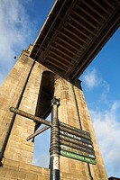 Tourist Signpost under the High Level Bridge Newcastle upon Tyne England