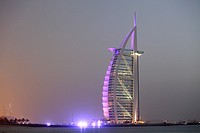 Burj Al Arab hotel at dusk, Dubai, United Arab Emirates  UAE