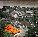 Monasteries, temples and Mekong river from a hill