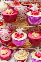 beautiful cupcakes on display stand