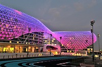 The futuristic Yas Viceroy Hotel, located in the middle of the Yas Marina F1 Circuit  Abu Dhabi, United Arab Emirates