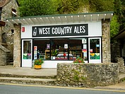 Shop selling local ales in the tourist attraction of Cheddar Gorge, Cheddar, Somerset, England, United Kingdom