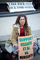 Activists gather in Foley Square in New York to support OSGATA farmers in their litigation against Monsanto to protect their crops from genetic trespa...