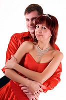 Young couple in red